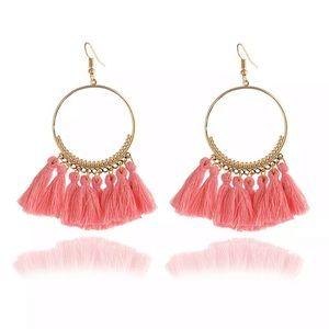 Pink boho hoop tassel fringe earrings NWT